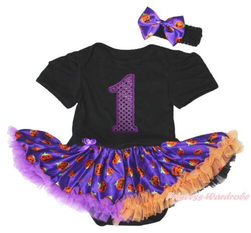 Birthday 1ST Halloween Black Bodysuit Girls Pumpkin Baby Dress Outfit Set NB-18M