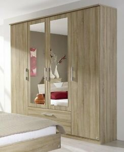 DrehtÜrenschrank Schrank Sk/spiegel Eiche Sonoma Neu Colours Are Striking Furniture Obedient Kleiderschrank 4-trg