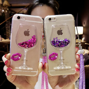 Glitter-Quicksand-Wine-Glass-Goblet-Silicone-Phone-Case-Cover-for-iPhone-Samsung
