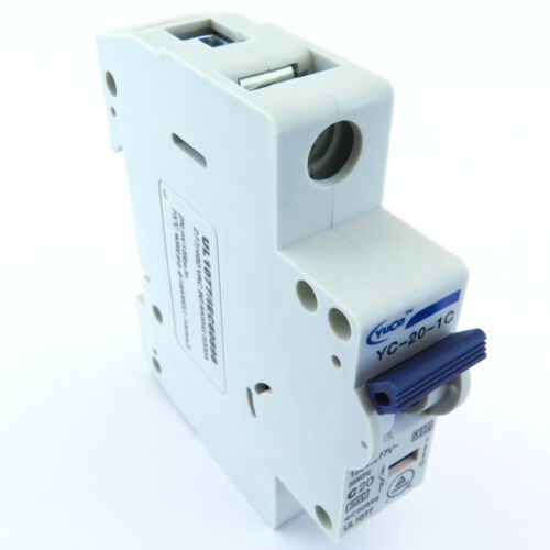 "With 4/"" Din Rail YuCo 1p 20a 120//277vac 115vdc Miniature Circuit Breaker C Curve"