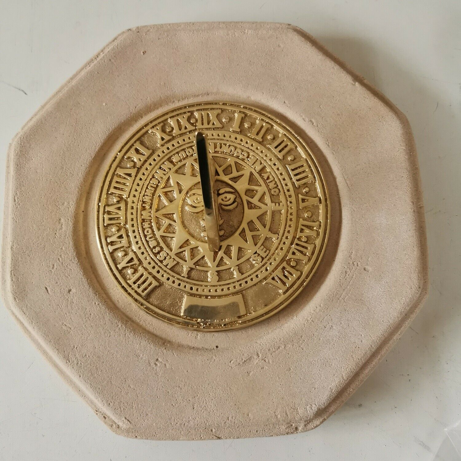 Small Octagonal Concrete Base And Sunny Hours Sundial - Cream