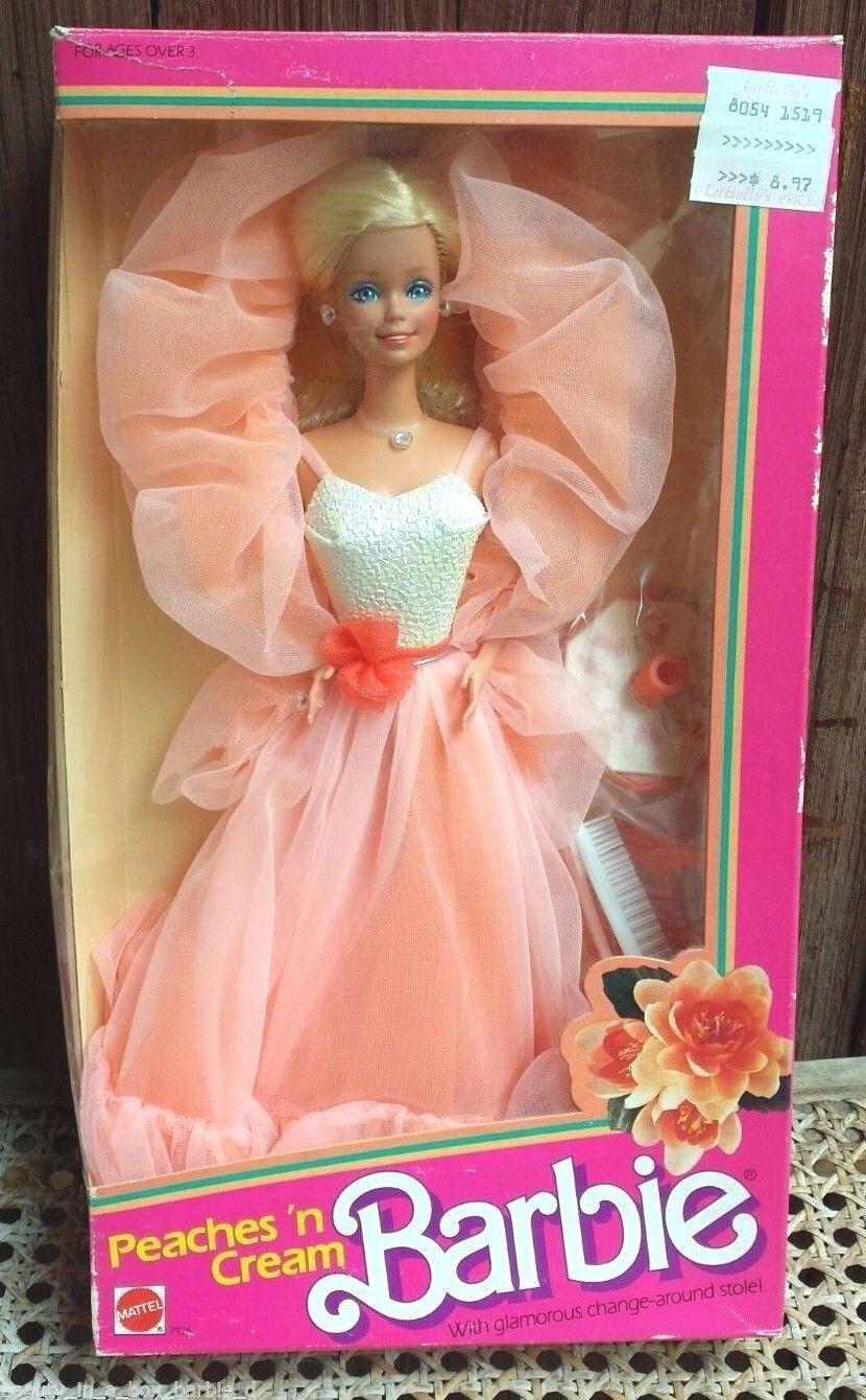 Peaches 'n Cream Muñeca Barbie 1984 Classic n y papeles Ventana de Plástico Transparente