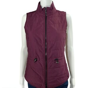Lafayette 148 Size Small Vest Purple Quilt Zip Up Winter Causal Drawstring Sides