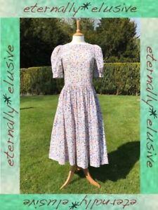 Vintage-LAURA-ASHLEY-Summer-Floral-Cotton-Lawn-Tea-Pleated-Pocket-Dress-Size-12