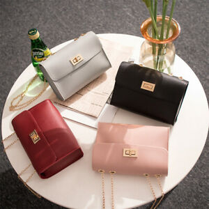 US-Women-Chain-Bag-PU-Leather-Shoulder-Crossbody-Handbag-Messenger-Purse-Wallet