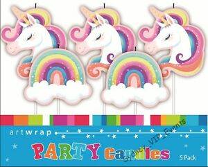 Image Is Loading GIRLS BIRTHDAY PARTY SUPPLIES UNICORN RAINBOW CAKE CANDLES