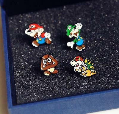 Super Mario Mario & Luigi Mushroom & Dragon Monster Earrings Anime Stud Earring