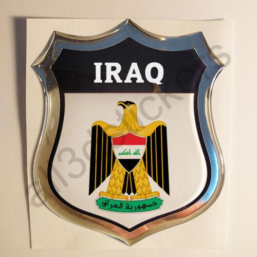 Sticker Iraq Emblem Coat of Arms Shield 3D Resin Domed Gel Vinyl Decal Car Moto