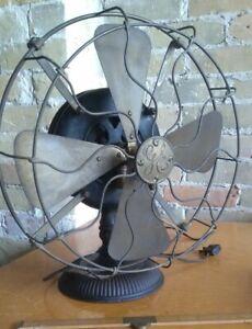 "GE Brass Blade Fan, 1900-01 12"" Pancake, Stick Mount Antique Electric Rib Base"
