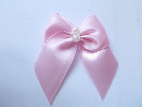 paquete de 20 20mm hermosa mano cosida Rosa Arcos de la cinta de raso con un solo grano