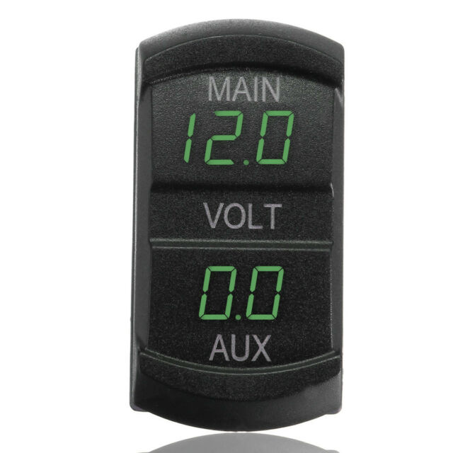 Dual Voltmeter Voltage Gauge Green LED Digital Panel Battery Monitor 10-60V Car