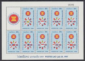 Laos Sc 1359j MNH. 1997 ASEAN Admission mini-sheet of 9 diff, VF