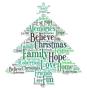 personalised christmas tree word art print any colour any words ebay