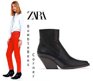 ZARA Cowboy Ankle Boots BLACK LEATHER