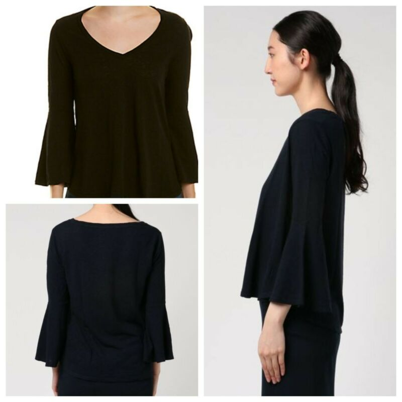 New Anthropologie Small S Three Dots Dark Navy Flounce Bell Sleeve V-neck Top