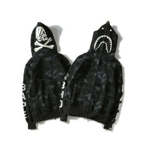 BAPE-A-BATHING-APE-Hoodie-Sweater-Coat-Men-039-s-Shark-Head-Skull-Full-Zip-Jacket