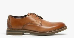 Base-London-WAYNE-homme-cuir-veritable-lacets-Smart-Derby-Chaussures-Lustre-Tan