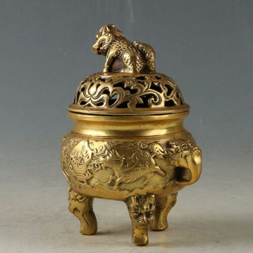 Chinese Brass Handwork Carved Beast Incense Burner Xuande Mark