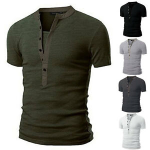 Neuf-Homme-Slim-Fit-V-Col-Moulant-Decontracte-Manche-Courte-Muscle-T-Shirts-Pull
