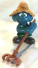 Vintage SMURFS Figure - Schleich PEYO Mini Doll - Farmer / Rake 1982