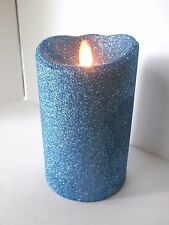 "Luminara GLITTER BLUE 7"" Flameless Candle NEW in box"