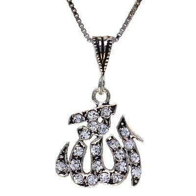 Crystal Fashion Gift Heart Shape Pendant God Allah Muslim Islamic Necklace