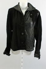 NEW GROWNBEANS Black Suede Leather Perforated Button Down Collared Blouse Sz M