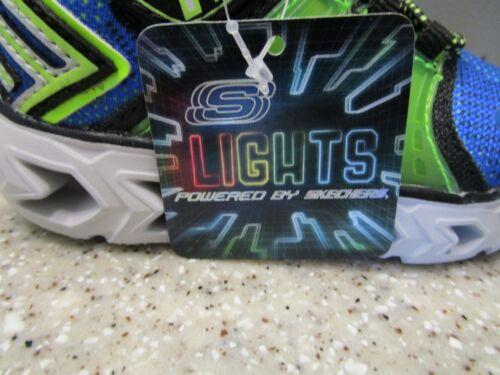 SKECHERS Kids S-LIGHTS Sneakers Shoes Size 8 Blue//Green LIGHT UPS  NWOB