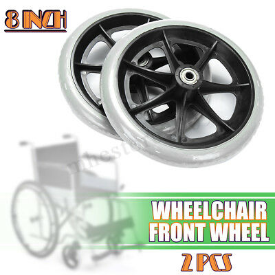 """1 Pair Of 200mm (8"""") Non-Marking Grey Rubber Small Wheelchair Wheels ! !"""
