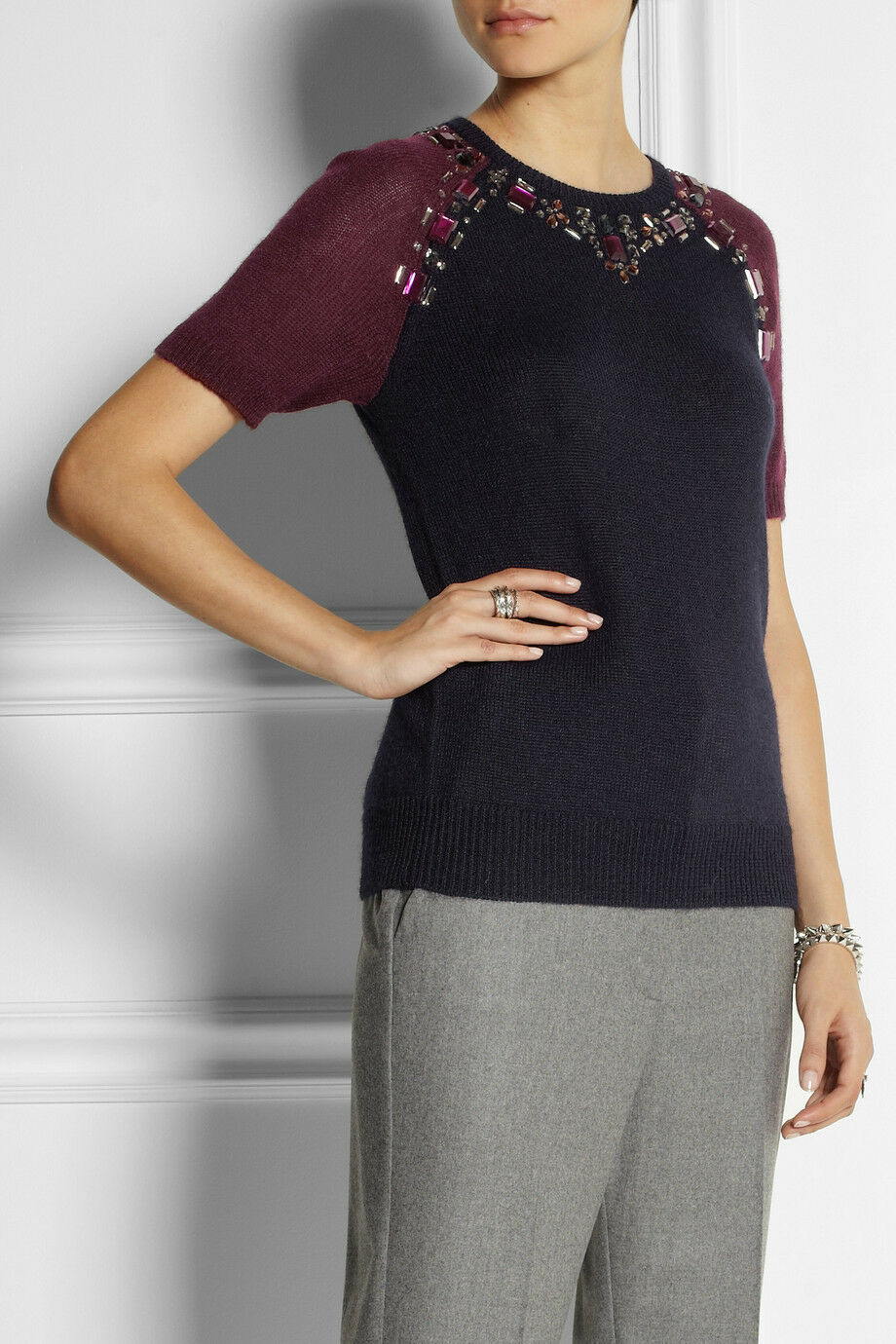 NWT J Crew Crystal-embellished knitted sweater topSRet