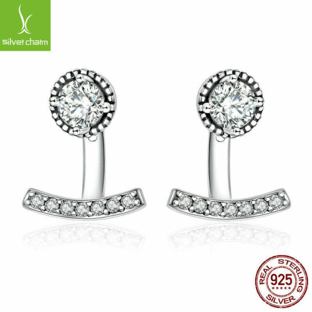 Authentic 925 Sterling Silver Abstract Elegance,Clear CZ Stud Earrings for Women