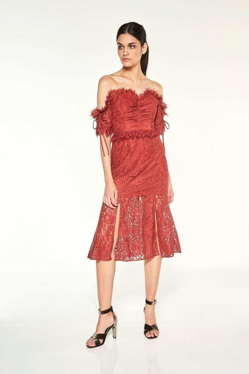 Talulah - Provoke Off Shoulder Midi Dress   Wine   Größe S   RRP