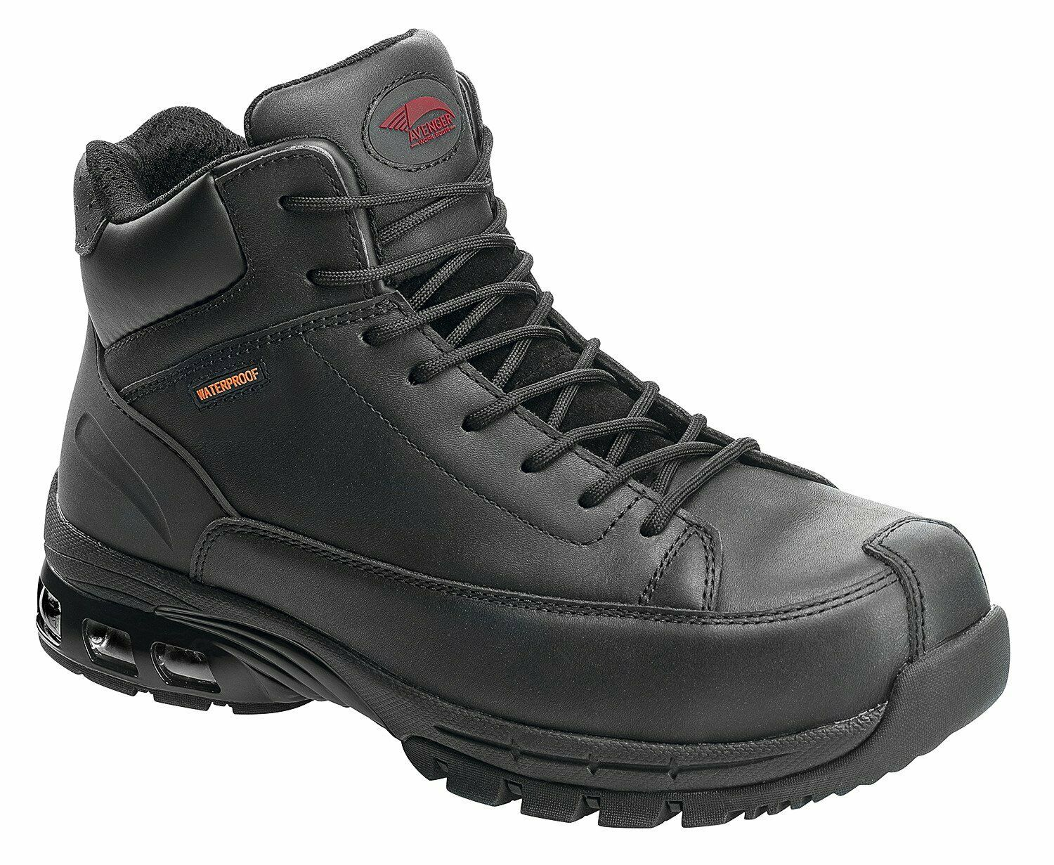 Avenger Mens Composite Toe Waterproof EH Hiker M Black Leather Boots M 14