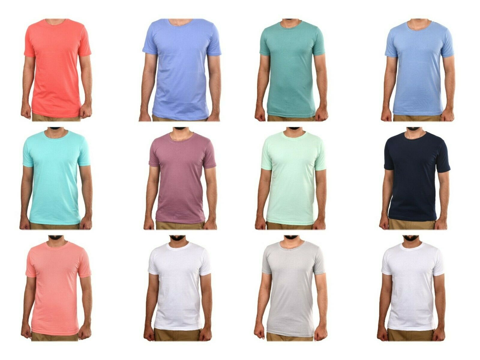 Mens 100%Cotton Plain Short Sleeve Basic Plain T-Shirt Tee Top Casual Round Neck