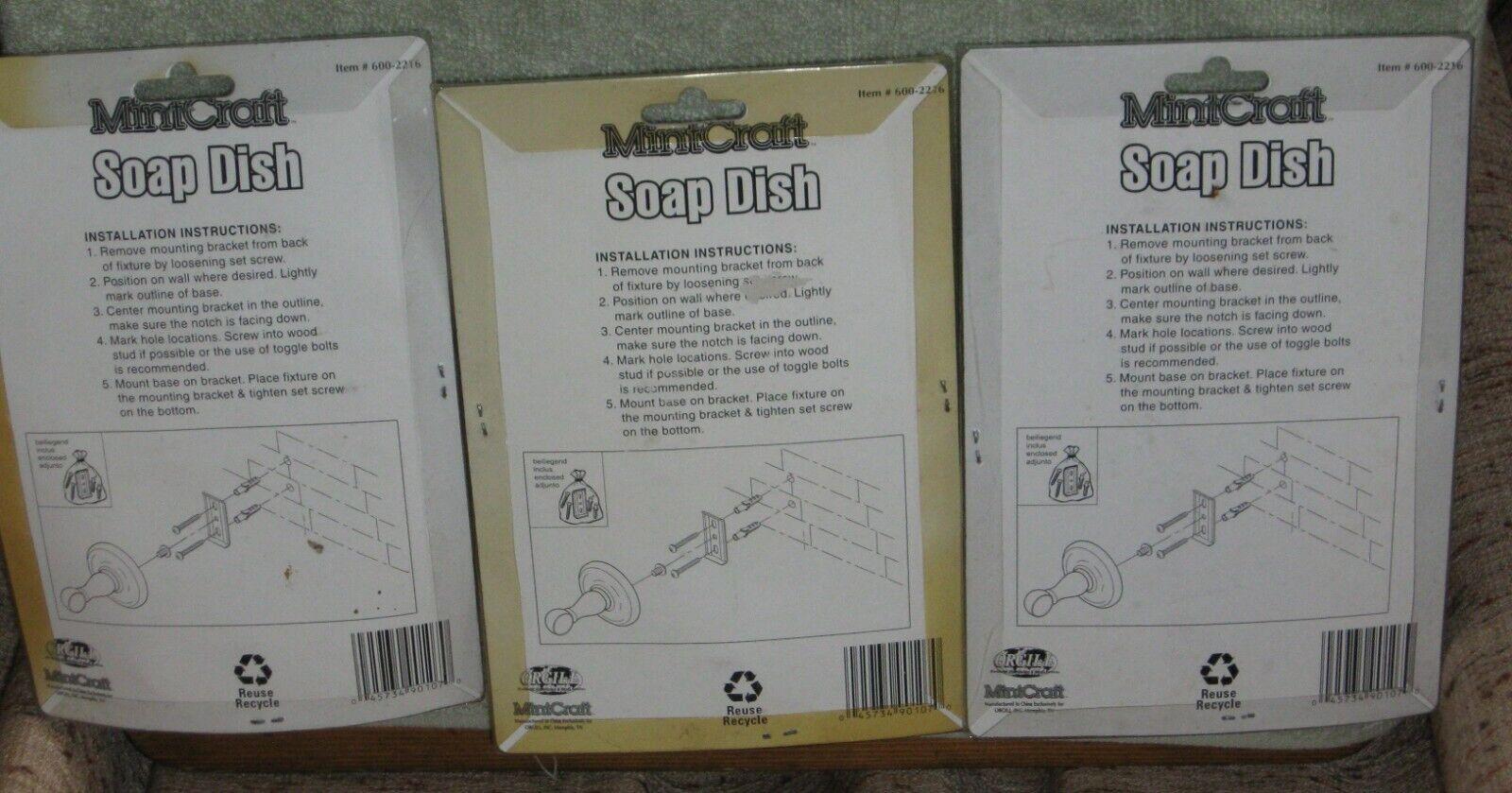 (3) MintCraft Soap Dish Polish Brass & Chrome Sealed Package