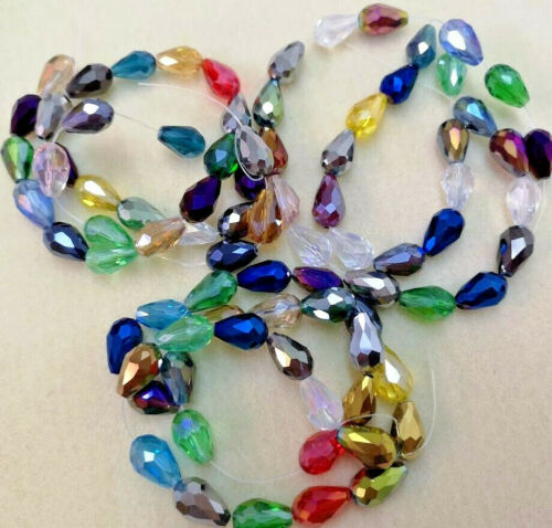 Electroplated Mixed Birthstone One String 15x10mm Large Crystal Briolettes