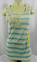 Po Pori Womens Light Blue Striped Lacey Every Day Tank Top Size Small