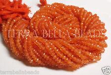"13"" strand orange CARNELIAN faceted gem stone rondell beads 3mm - 3.5mm"