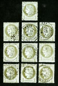 FRANCE-TIMBRES-N-50-tres-fine-Lot-de-10-tres-propre-utilise-TIMBRES-Scott-valeur-250-00