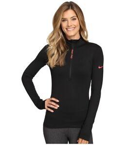 Details zu Nike pro Hyperwarm Halber Reißverschluss Netz Damen Training Top Laufen S BLACK