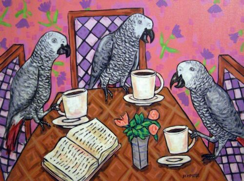 african grey parrot FRIENDS coffee shop bird art GLOSSY PRINT 13x19