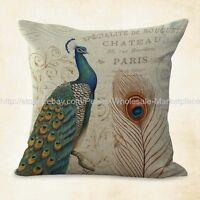 Us Seller, Vintage Peacock Cushion Cover Pillowcase Sizes