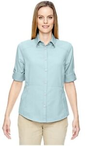 Women's  Long Sleeve Button Down Crystal Blue Solid Performance Blouse Large
