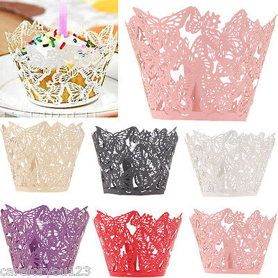 12PCS Wedding Birthday Party Butterfly Filigree Vine Cupcake Wrappers Wraps Case