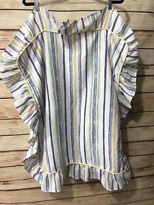 Home-Fashion-Pillow-Cover-Sham-White-Blue-Stripe-Ruffle-Large-26-034-x-26-034-Chic