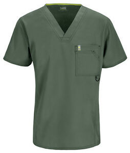 Scrubs Code Happy Men's V-Neck Top 16600A OLCH Olive Free Shipping