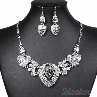 Women's New Trendy Rhinestone Choker Nobby Chain Necklace Earrings Jewelry Set
