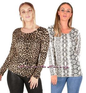 Ladies-Long-Sleeve-Animal-Print-amp-Snake-Print-LYCRA-Scoop-Neck-Fashion-Tops-8-14