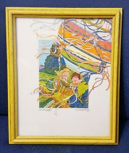 Vintage-1980-Framed-Artwork-By-Carol-Middleton-034-Just-Passing-By-034-Hot-Air-Balloon