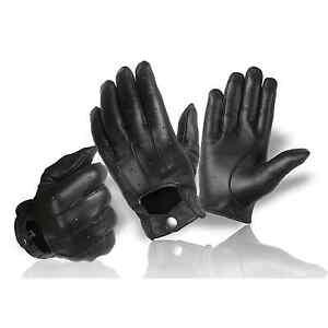 Echt Leder Herren Handschuhe zum knöpfen klassisch | Autofahrer Motorrad Reiten